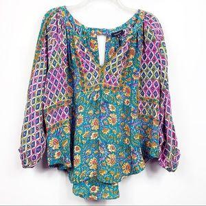 Tolani | Bohemian Floral Print Silk Tunic Blouse